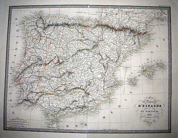 1841 Hesse Map Of Spain & Portugal Very Detailed