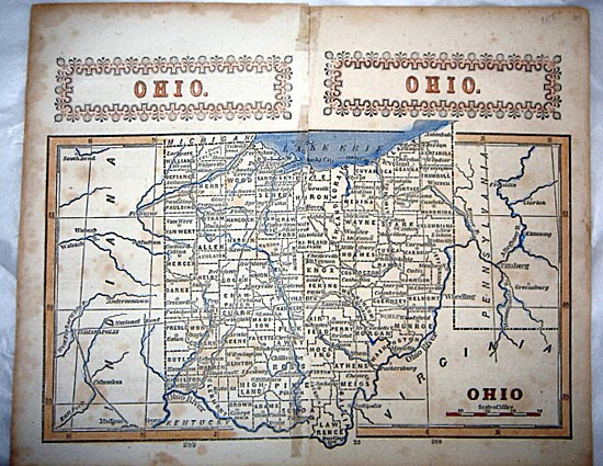 1854 Original Legal Map Ohio USA Scarce