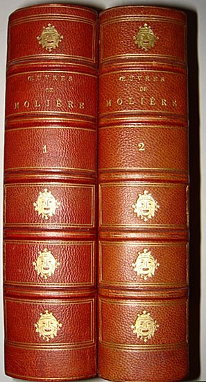 1880 Superb 2 Vol Set Works Moliere hand Colored Engrav