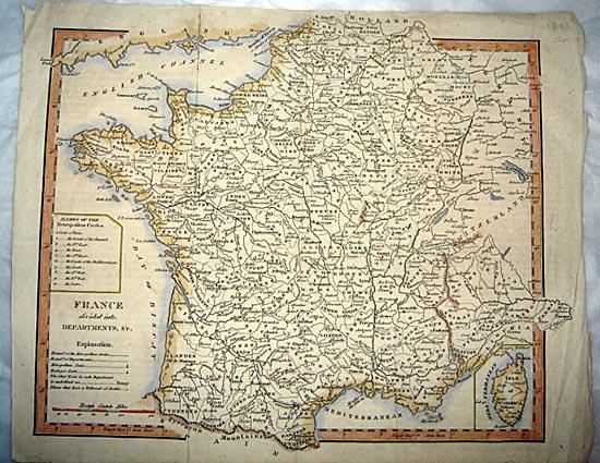 1803 Original Thomas Kitchin Map of France & Corsica