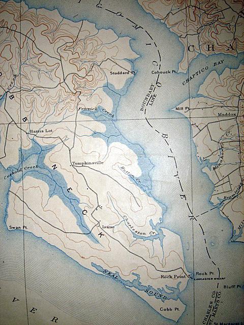 1912 Original US Survey Map Maryland & Virginia Rare