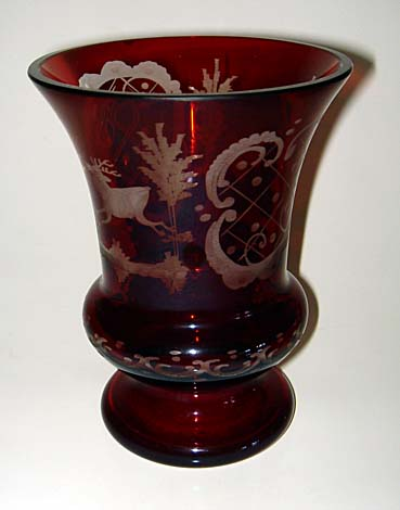 1860 Bohemian Ruby Glass Hunting Beaker Must See