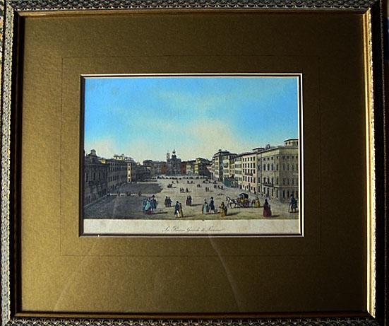 1833 Rare Aquatint By Carlo Verico Piazza Livorno Italy